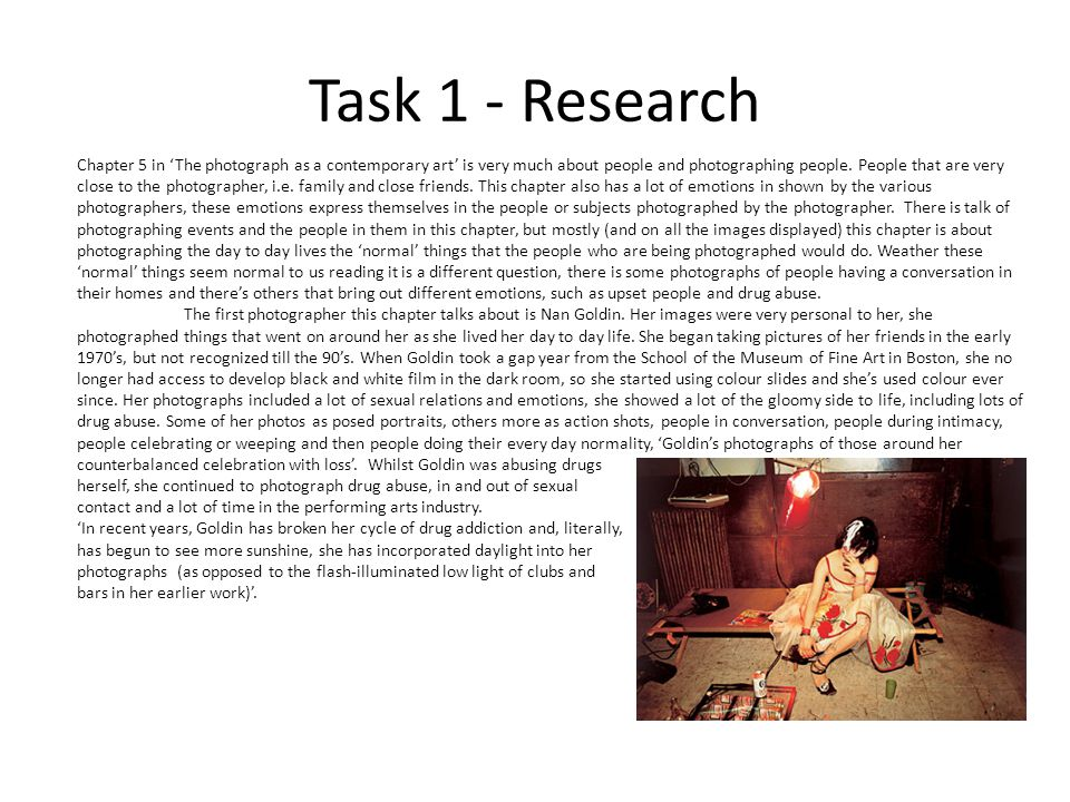 Task 1 - Research Chapter 5 in 'The photograph as a contemporary art' is very much about people and photographing people.