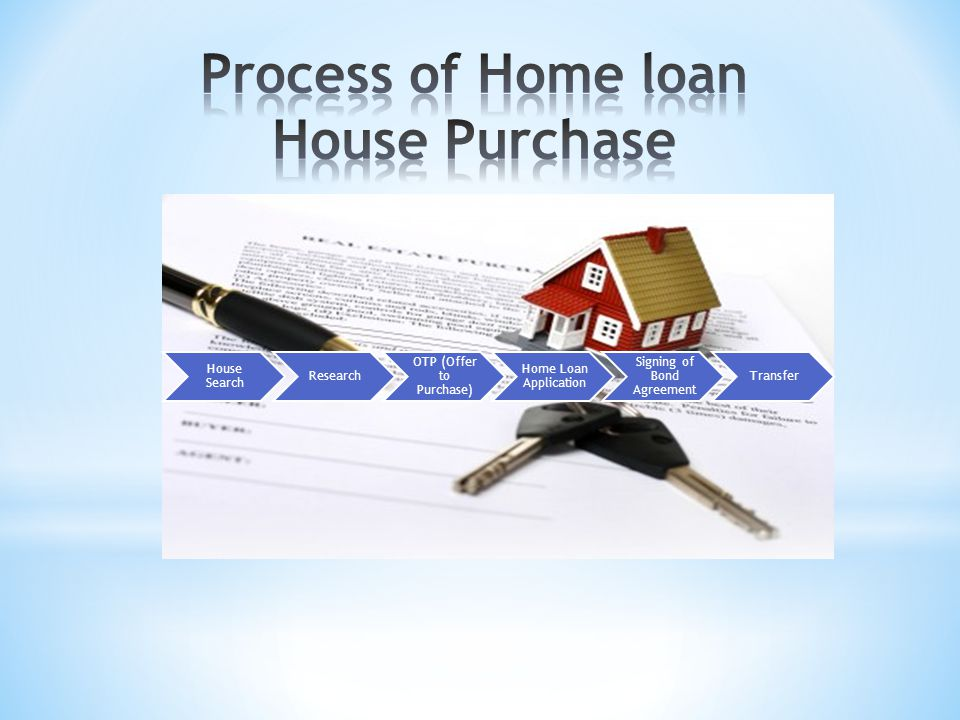House Search Research OTP (Offer to Purchase) Home Loan Application Signing of Bond Agreement Transfer