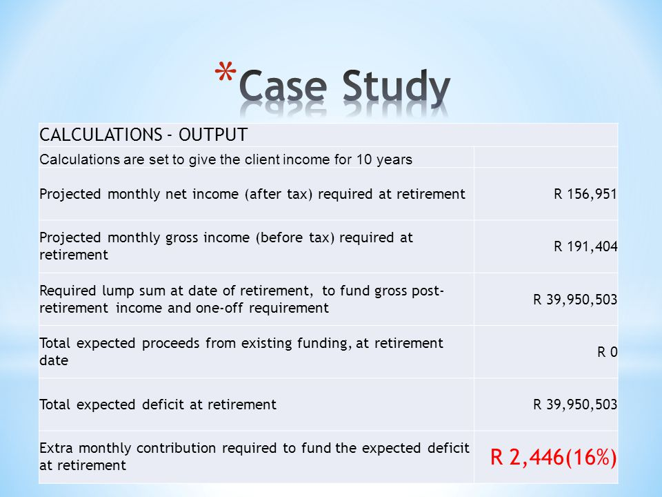 CALCULATIONS - OUTPUT Calculations are set to give the client income for 10 years Projected monthly net income (after tax) required at retirementR 156