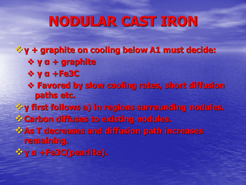 NODULAR CAST IRON  γ + graphite on cooling below A1 must decide:  γ α + graphite  γ α +Fe3C  Favored by slow cooling rates, short diffusion paths