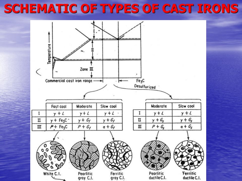 SCHEMATIC OF TYPES OF CAST IRONS