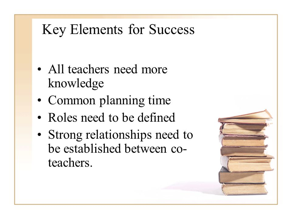 All teachers need more knowledge Common planning time Roles need to be defined Strong relationships need to be established between co- teachers.