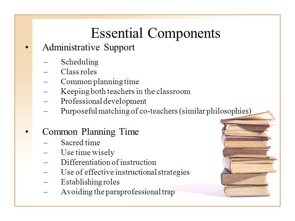 Essential Components Administrative Support –Scheduling –Class roles –Common planning time –Keeping both teachers in the classroom –Professional development –Purposeful matching of co-teachers (similar philosophies) Common Planning Time –Sacred time –Use time wisely –Differentiation of instruction –Use of effective instructional strategies –Establishing roles –Avoiding the paraprofessional trap