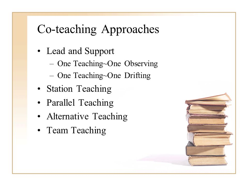 Co-teaching Approaches Lead and Support –One Teaching~One Observing –One Teaching~One Drifting Station Teaching Parallel Teaching Alternative Teaching