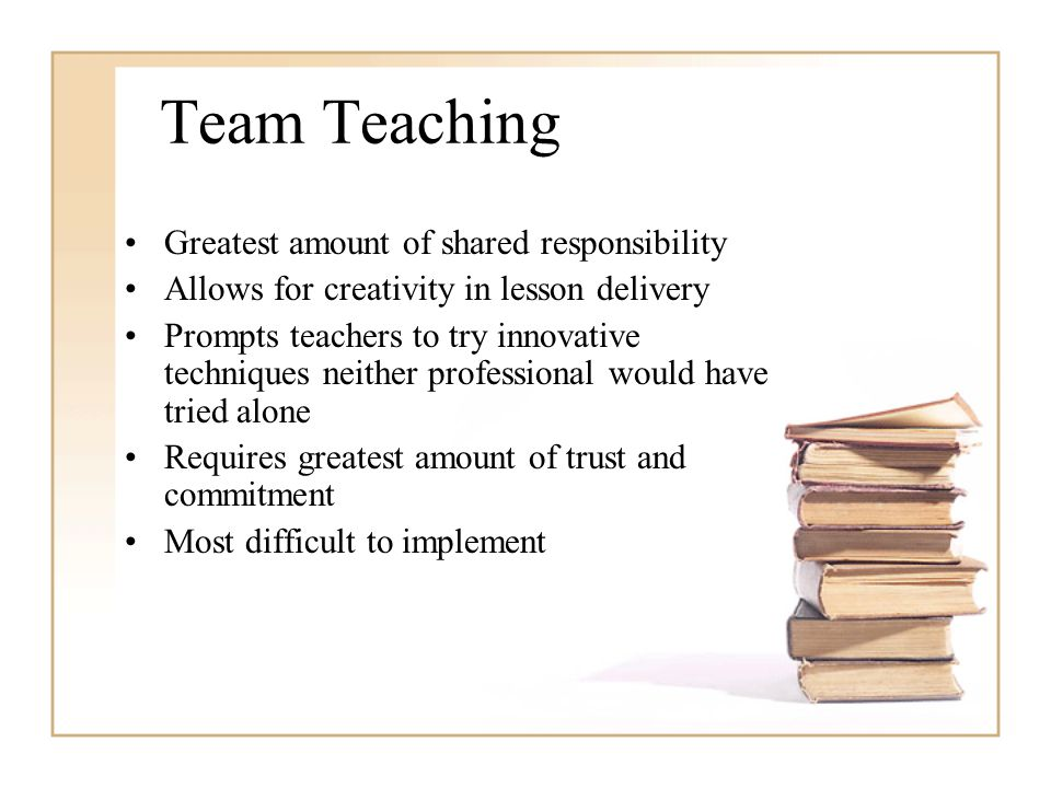 Team Teaching Greatest amount of shared responsibility Allows for creativity in lesson delivery Prompts teachers to try innovative techniques neither professional would have tried alone Requires greatest amount of trust and commitment Most difficult to implement