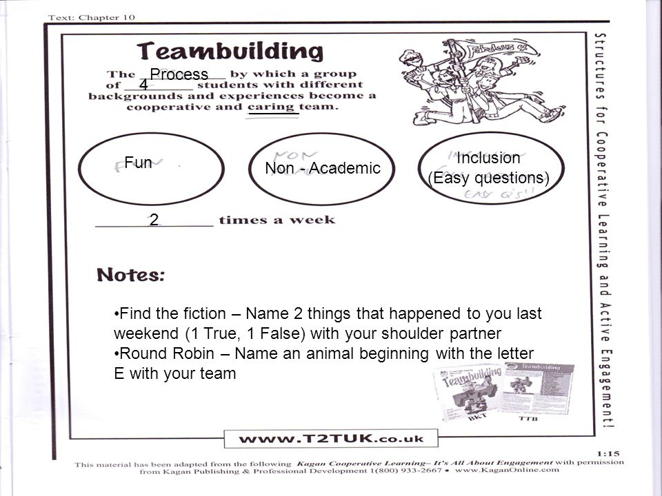 Fun Non - Academic Inclusion (Easy questions) 2 Process 4 Find the fiction – Name 2 things that happened to you last weekend (1 True, 1 False) with your shoulder partner Round Robin – Name an animal beginning with the letter E with your team