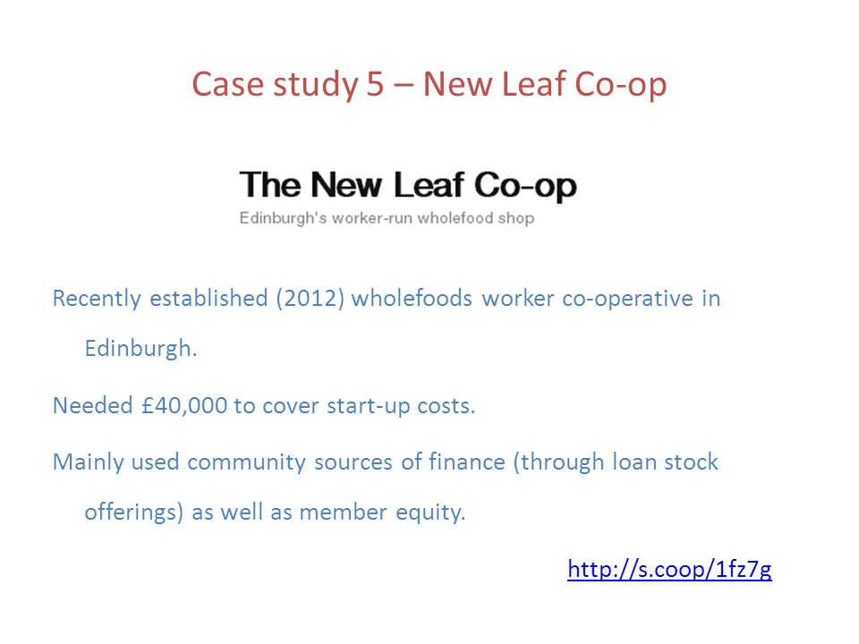Case study 5 – New Leaf Co-op Recently established (2012) wholefoods worker co-operative in Edinburgh.
