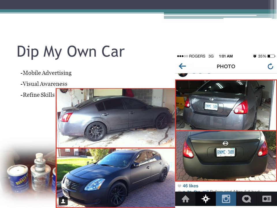 Dip My Own Car -Mobile Advertising -Visual Awareness -Refine Skills