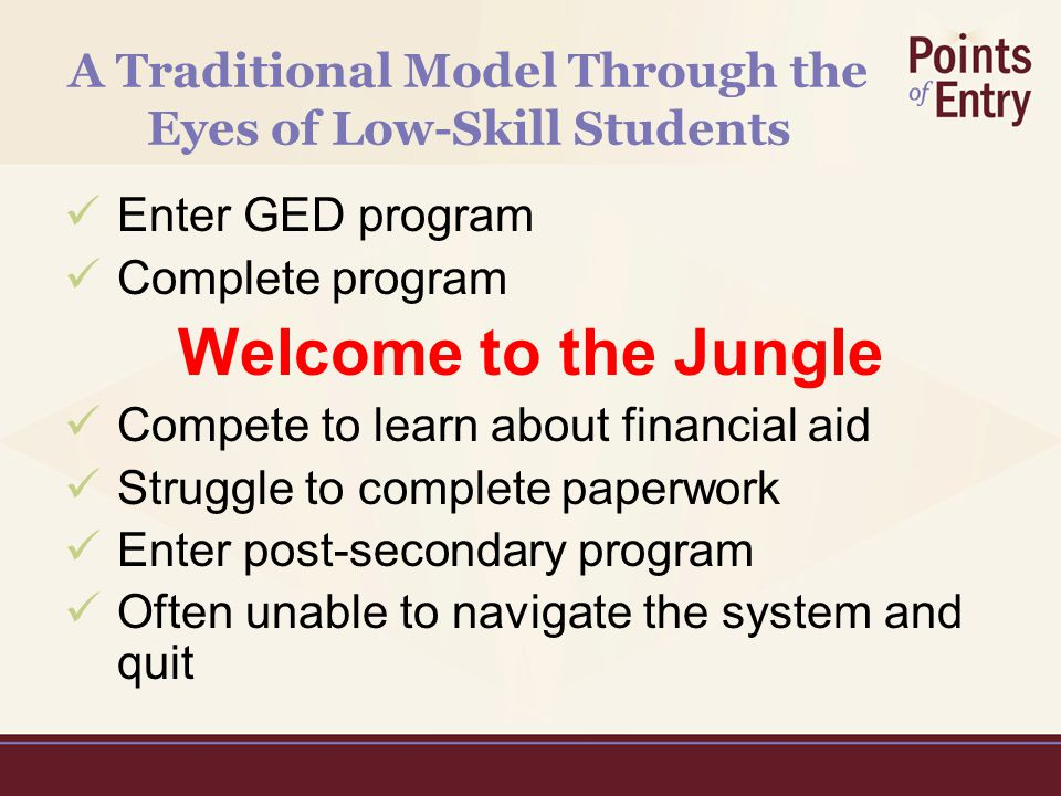 A Traditional Model Through the Eyes of Low-Skill Students Enter GED program Complete program Welcome to the Jungle Compete to learn about financial aid Struggle to complete paperwork Enter post-secondary program Often unable to navigate the system and quit