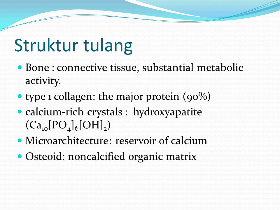 Struktur tulang Bone : connective tissue, substantial metabolic activity. type 1 collagen: the major protein (90%) calcium-rich crystals : hydroxyapat