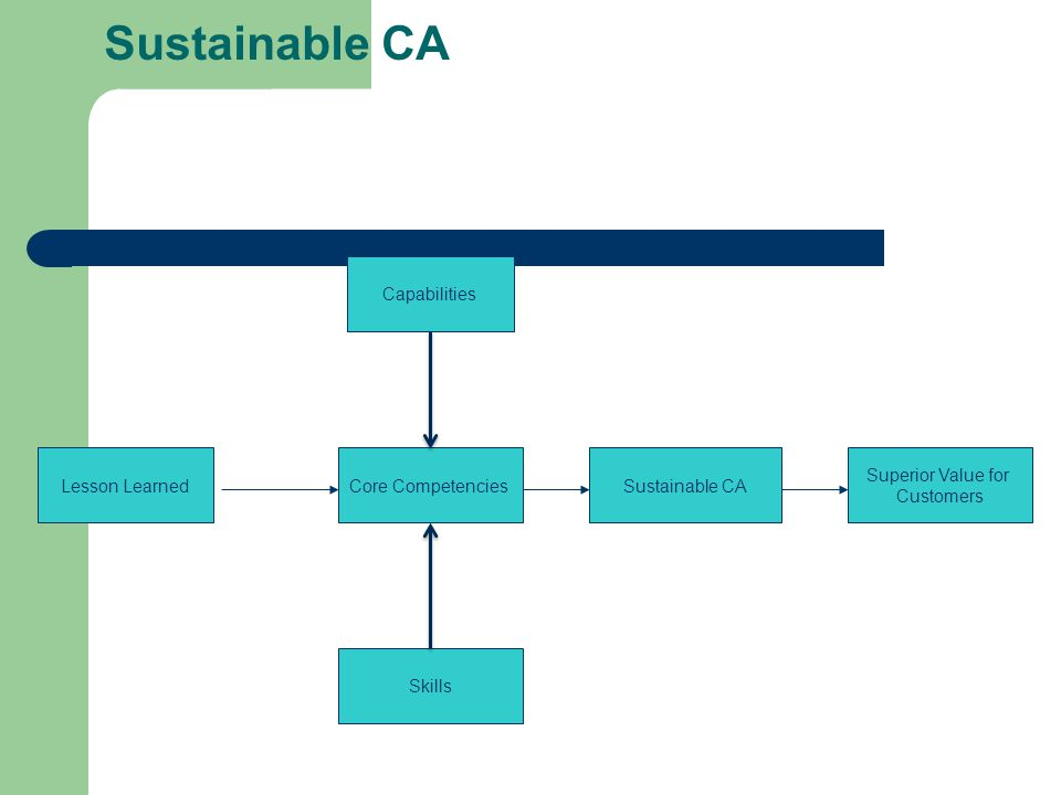 Sustainable CA Lesson Learned Skills Core Competencies Superior Value for Customers Capabilities Sustainable CA