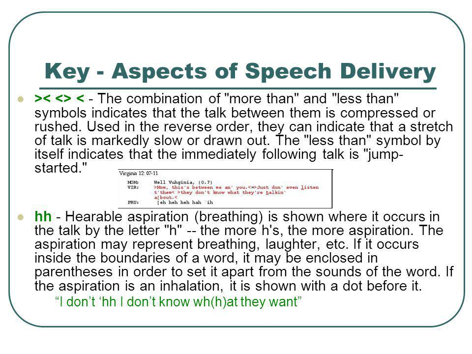 Key - Aspects of Speech Delivery > < - The combination of more than and less than symbols indicates that the talk between them is compressed or rushed.