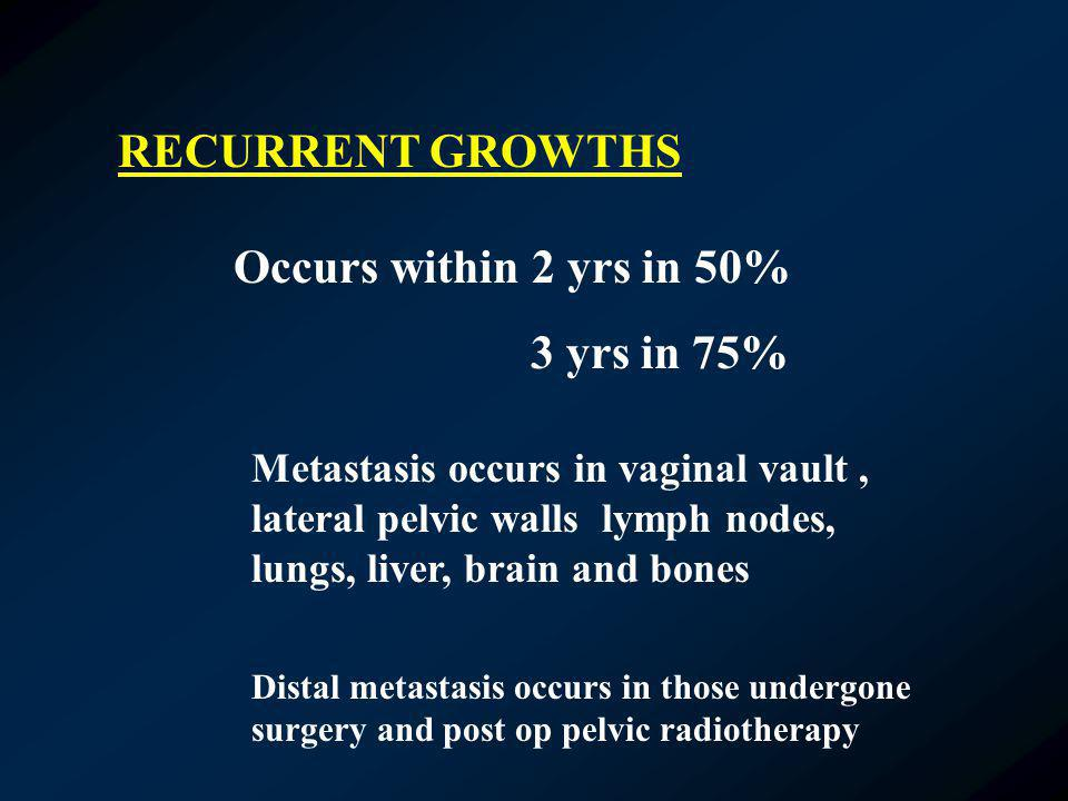 RECURRENT GROWTHS Occurs within 2 yrs in 50% 3 yrs in 75% Metastasis occurs in vaginal vault, lateral pelvic walls lymph nodes, lungs, liver, brain an