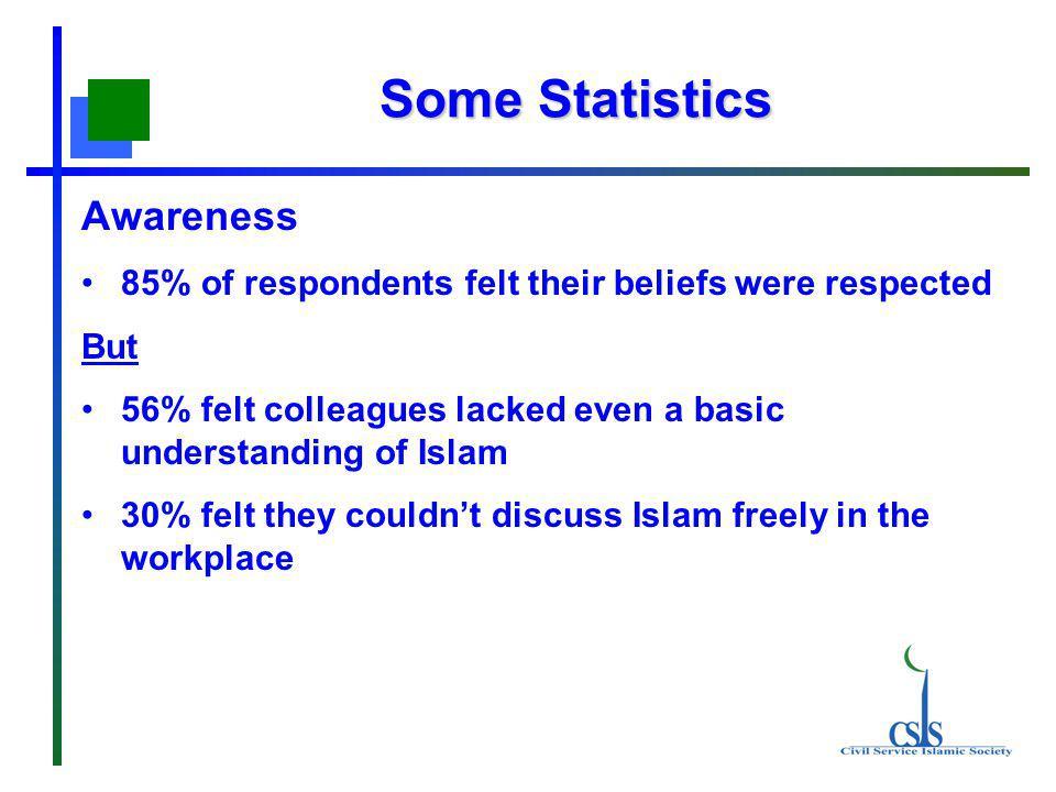 Some Statistics Awareness 85% of respondents felt their beliefs were respected But 56% felt colleagues lacked even a basic understanding of Islam 30%