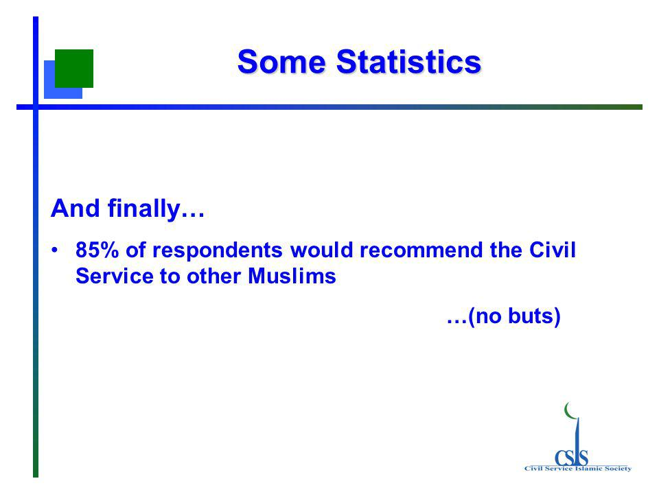 Some Statistics And finally… 85% of respondents would recommend the Civil Service to other Muslims …(no buts)
