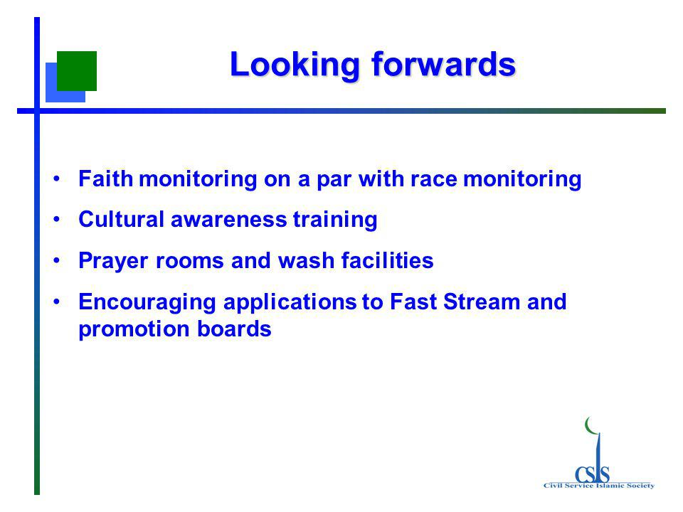 Looking forwards Faith monitoring on a par with race monitoring Cultural awareness training Prayer rooms and wash facilities Encouraging applications