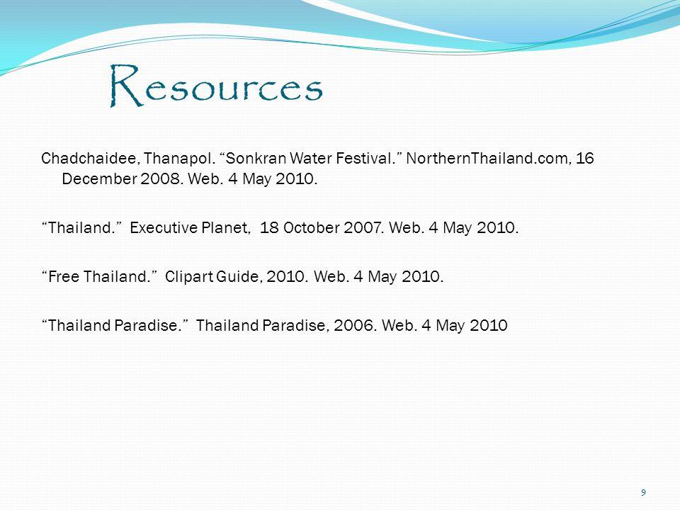 Resources Chadchaidee, Thanapol. Sonkran Water Festival. NorthernThailand.com, 16 December 2008.