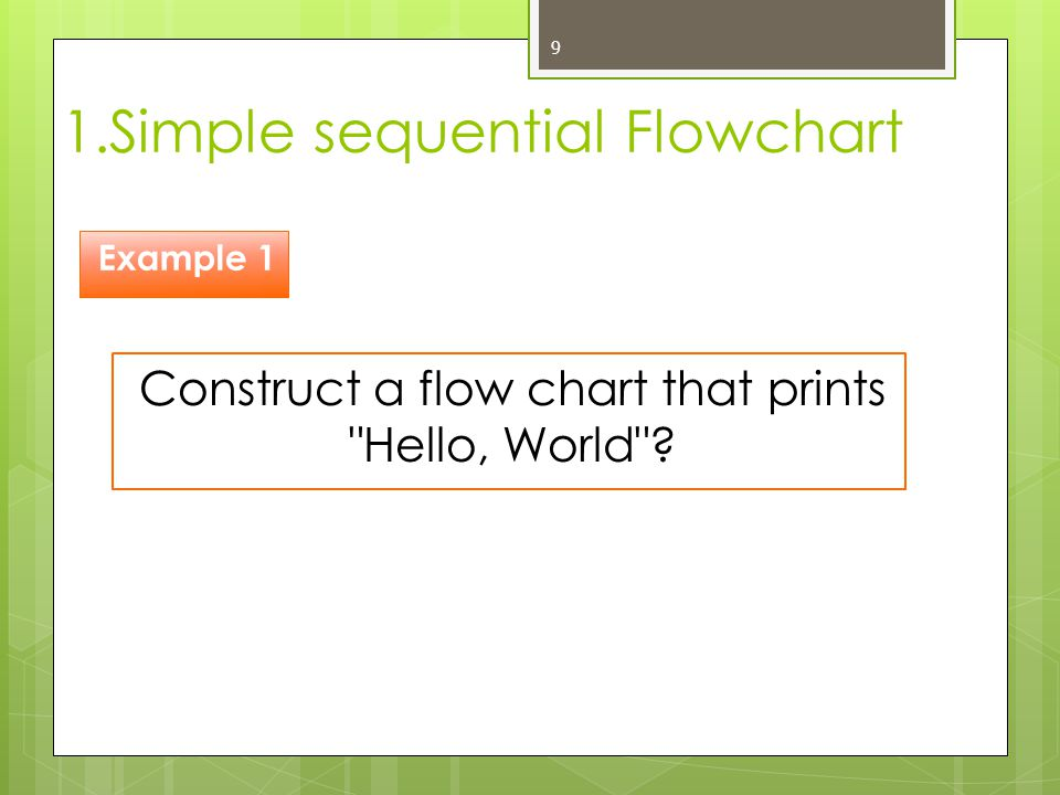 1.Simple sequential Flowchart 9 Construct a flow chart that prints
