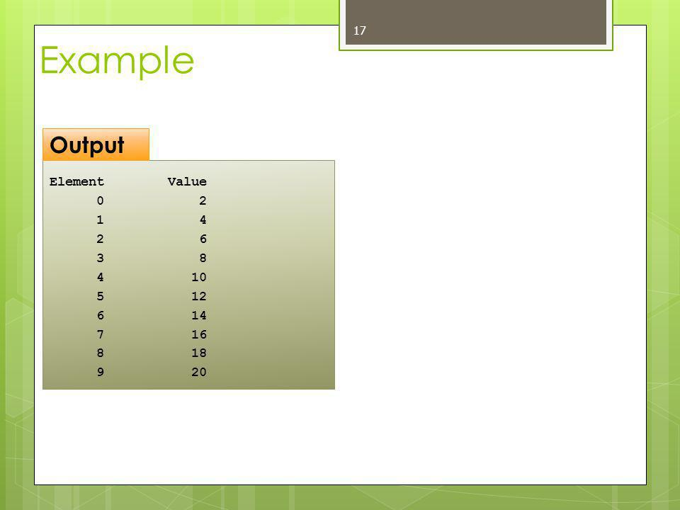 Example Element Value 0 2 1 4 2 6 3 8 4 10 5 12 6 14 7 16 8 18 9 20 17 Output