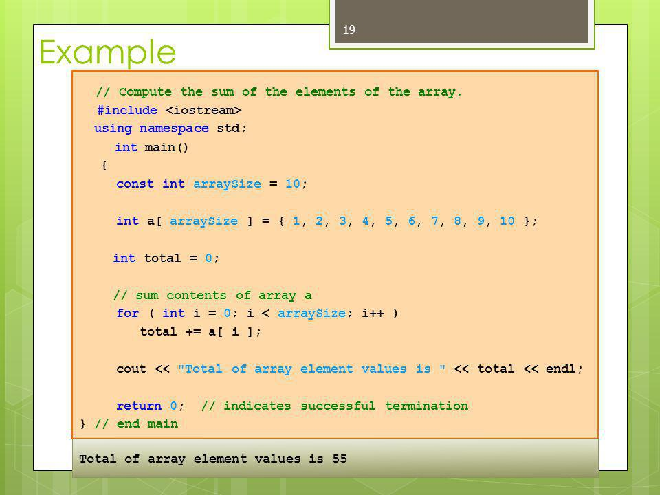 // Compute the sum of the elements of the array.