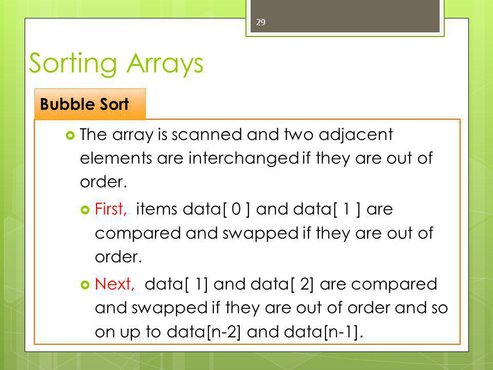  The array is scanned and two adjacent elements are interchanged if they are out of order.