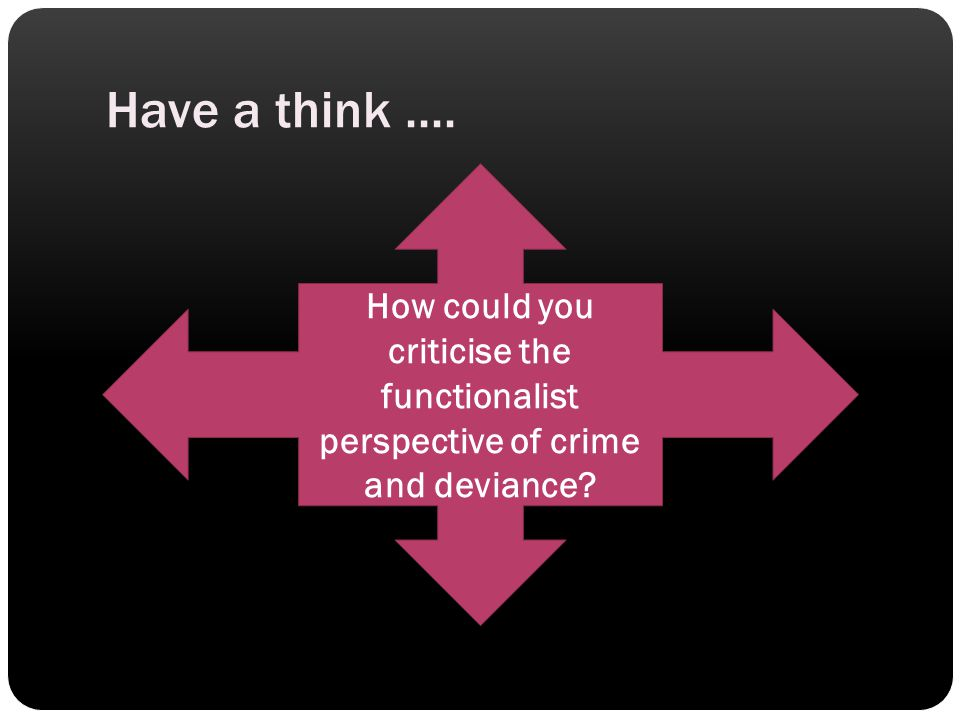Have a think.... How could you criticise the functionalist perspective of crime and deviance?