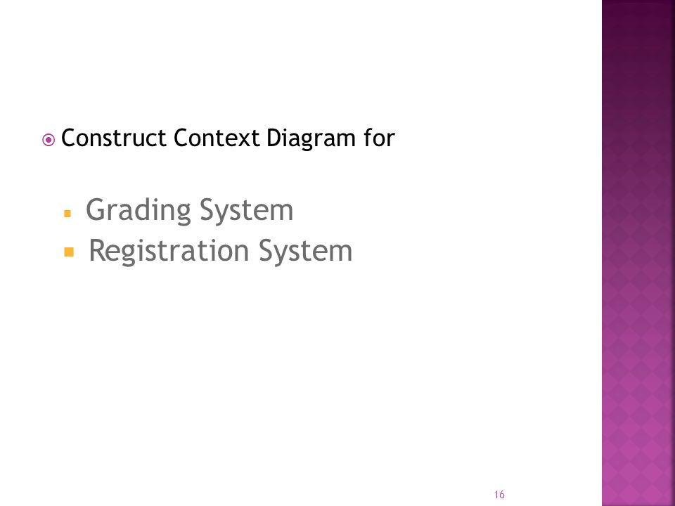  Construct Context Diagram for  Grading System  Registration System 16