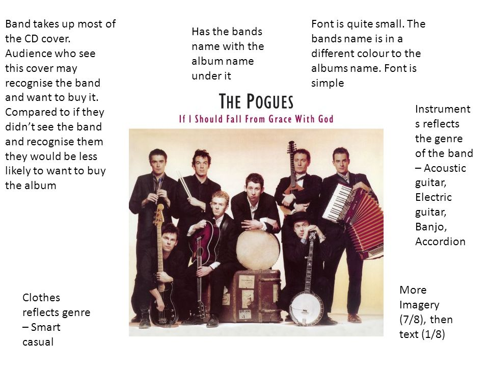 Instrument s reflects the genre of the band – Acoustic guitar, Electric guitar, Banjo, Accordion Clothes reflects genre – Smart casual Band takes up most of the CD cover.