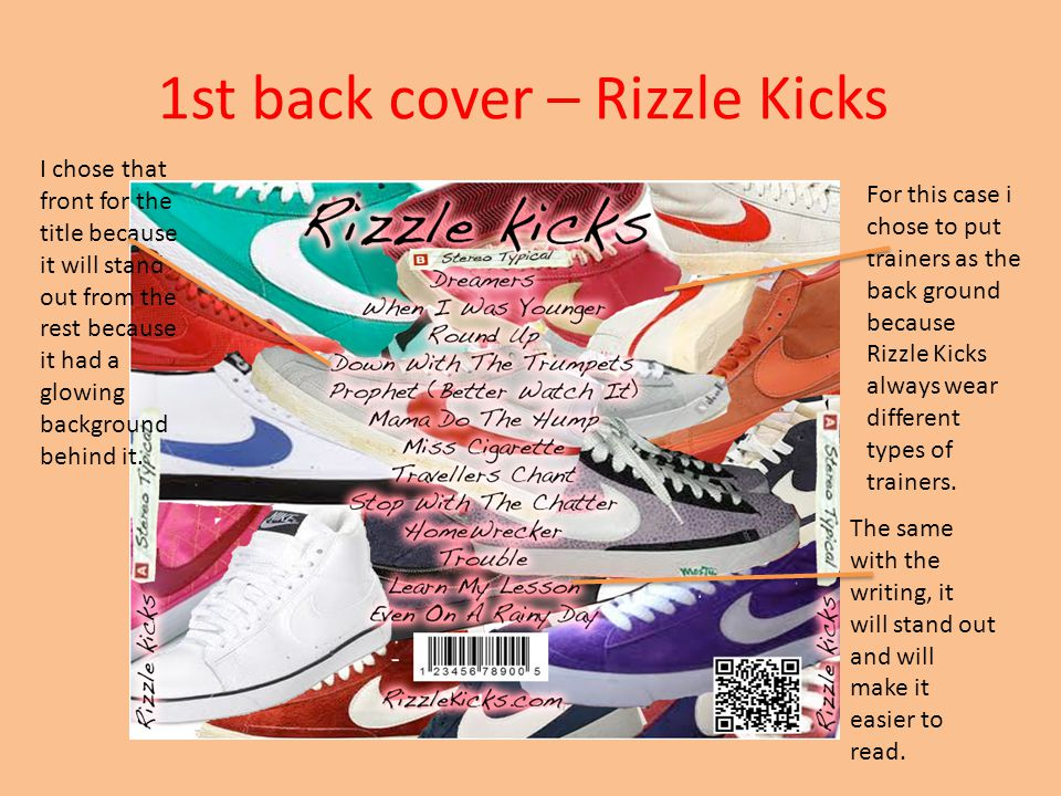 1st front cover – Rizzle Kicks I chose this for the front because Rizzle Kicks are from Brighton and I thought it good for them to show that in their CD case