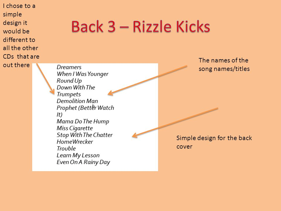 The names of the song names/titles Simple design for the back cover I chose to a simple design it would be different to all the other CDs that are out