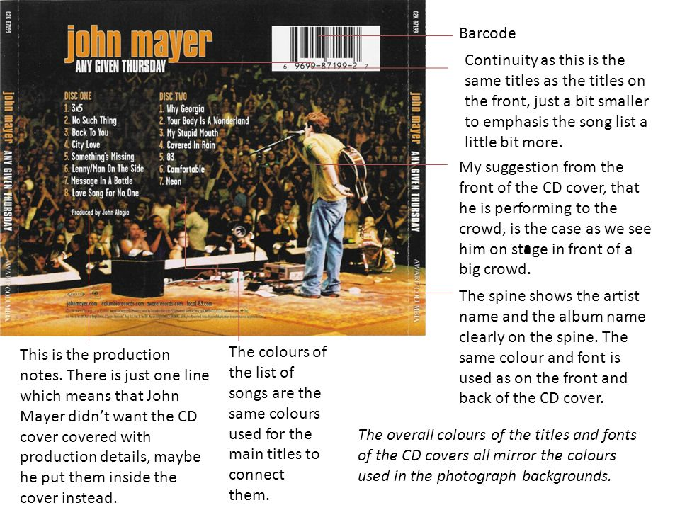 This is the production notes. There is just one line which means that John Mayer didn't want the CD cover covered with production details, maybe he pu