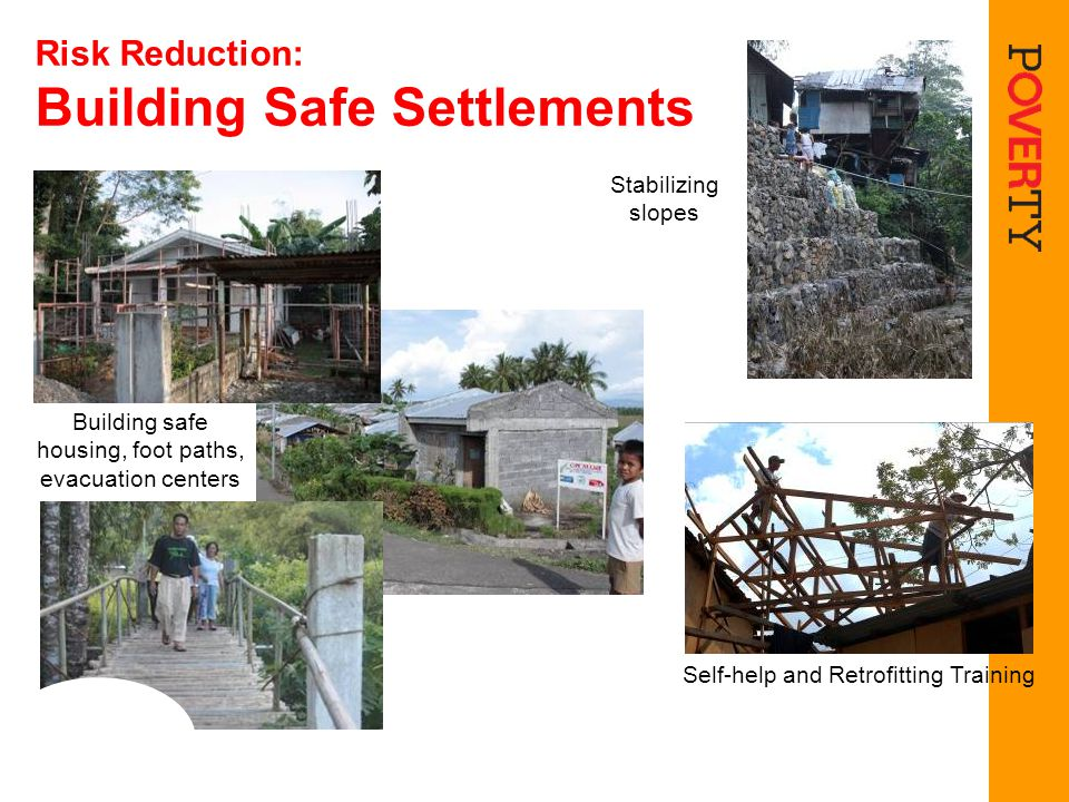 Risk Reduction: Building Safe Settlements Stabilizing slopes Building safe housing, foot paths, evacuation centers Self-help and Retrofitting Training