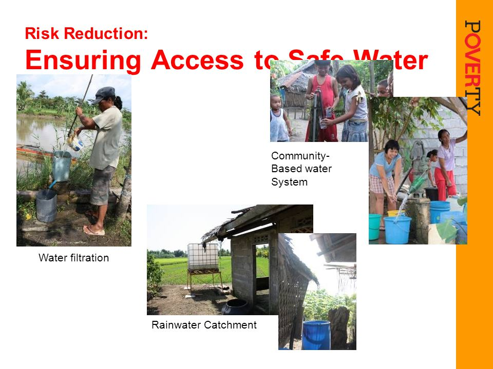 Risk Reduction: Ensuring Access to Safe Water Water filtration Community- Based water System Rainwater Catchment