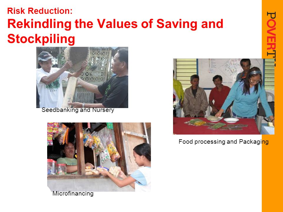 Risk Reduction: Rekindling the Values of Saving and Stockpiling Seedbanking and Nursery Food processing and Packaging Microfinancing