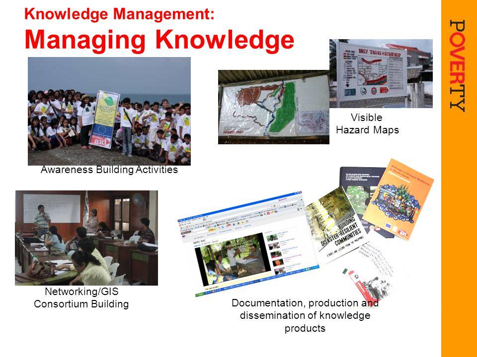 Knowledge Management: Managing Knowledge Awareness Building Activities Networking/GIS Consortium Building Visible Hazard Maps Documentation, productio