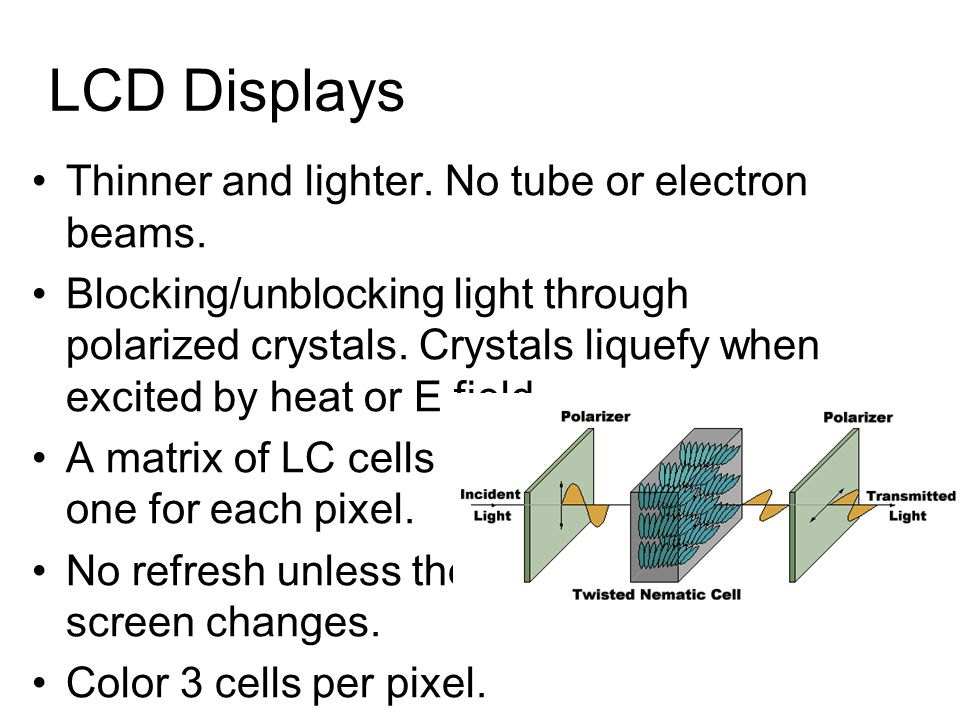 LCD Displays Thinner and lighter. No tube or electron beams.