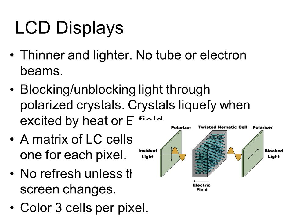LCD Displays Thinner and lighter. No tube or electron beams. Blocking/unblocking light through polarized crystals. Crystals liquefy when excited by he