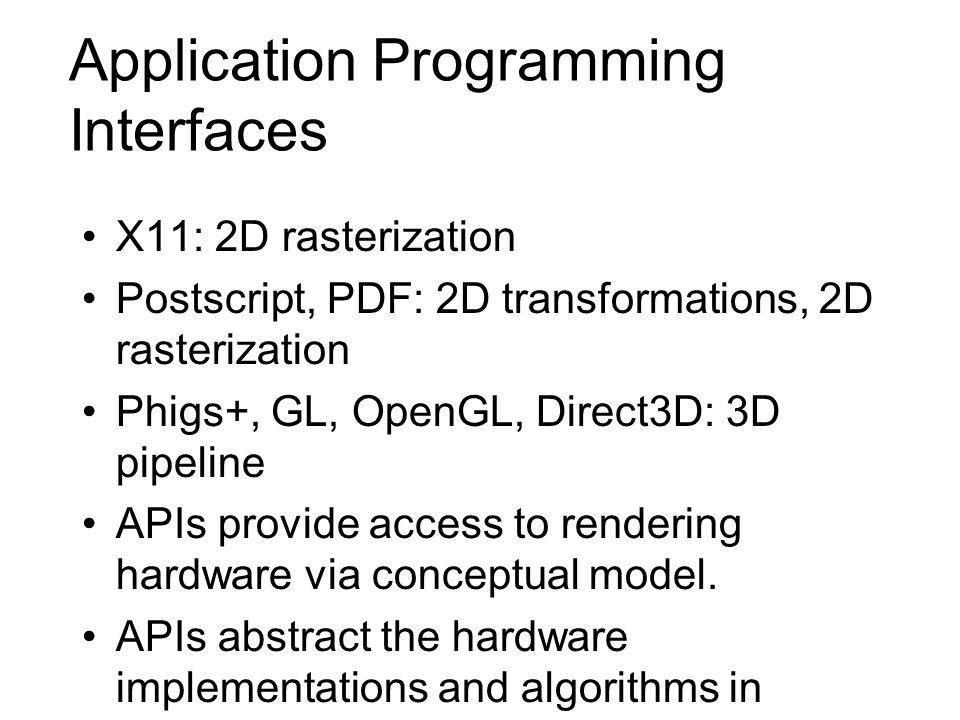 Application Programming Interfaces X11: 2D rasterization Postscript, PDF: 2D transformations, 2D rasterization Phigs+, GL, OpenGL, Direct3D: 3D pipeli