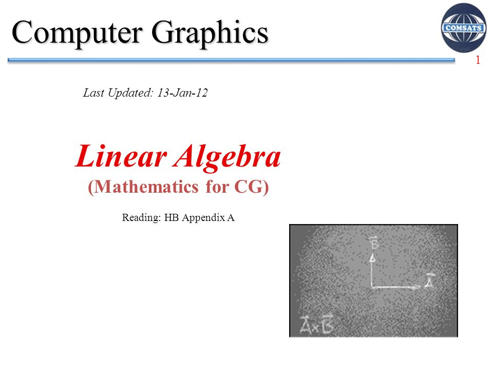1 Linear Algebra (Mathematics for CG) Reading: HB Appendix A Computer Graphics Last Updated: 13-Jan-12
