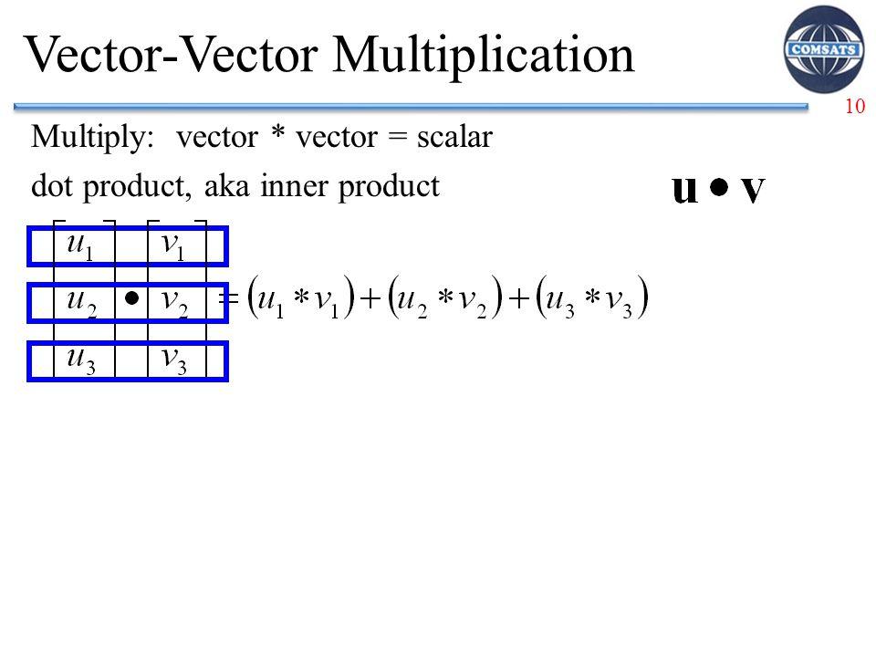 10 Vector-Vector Multiplication Multiply: vector * vector = scalar dot product, aka inner product