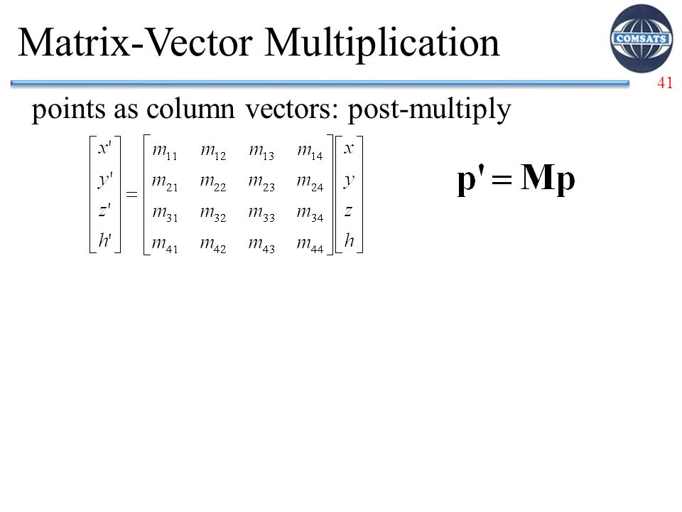 41 Matrix-Vector Multiplication points as column vectors: post-multiply
