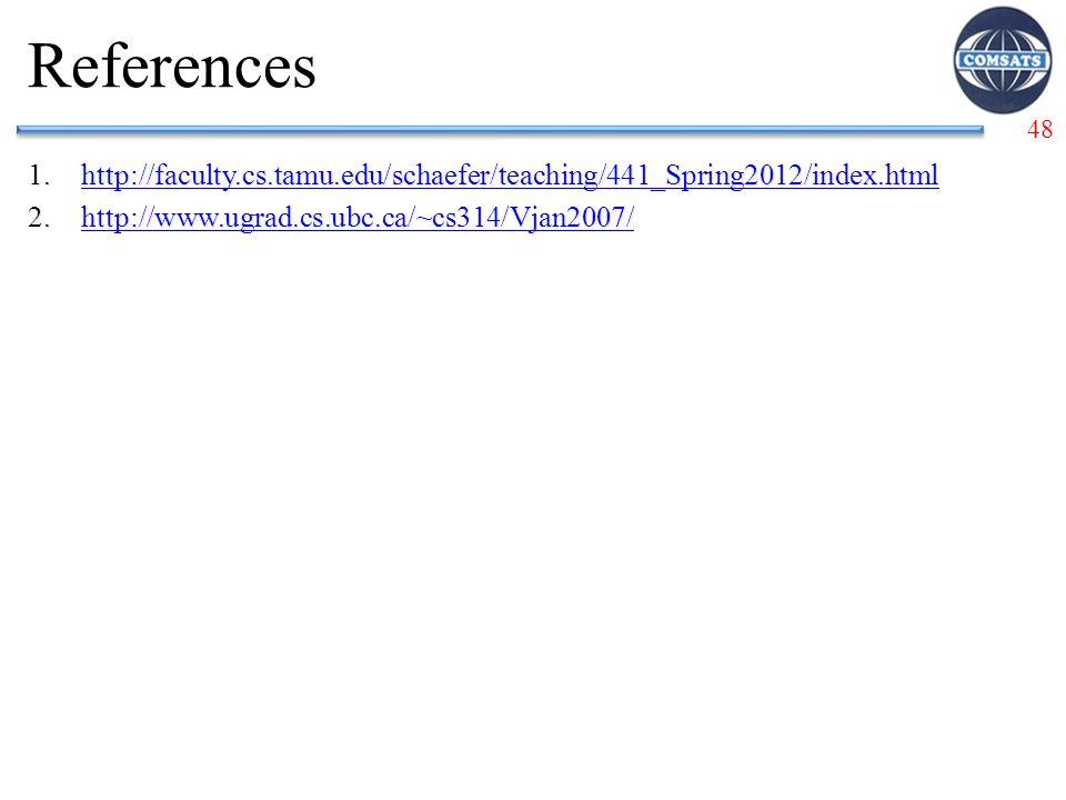 48 References 1.http://faculty.cs.tamu.edu/schaefer/teaching/441_Spring2012/index.htmlhttp://faculty.cs.tamu.edu/schaefer/teaching/441_Spring2012/index.html 2.http://www.ugrad.cs.ubc.ca/~cs314/Vjan2007/http://www.ugrad.cs.ubc.ca/~cs314/Vjan2007/ 1.http://faculty.cs.tamu.edu/schaefer/teaching/441_Spring2012/index.htmlhttp://faculty.cs.tamu.edu/schaefer/teaching/441_Spring2012/index.html 2.http://www.ugrad.cs.ubc.ca/~cs314/Vjan2007/http://www.ugrad.cs.ubc.ca/~cs314/Vjan2007/