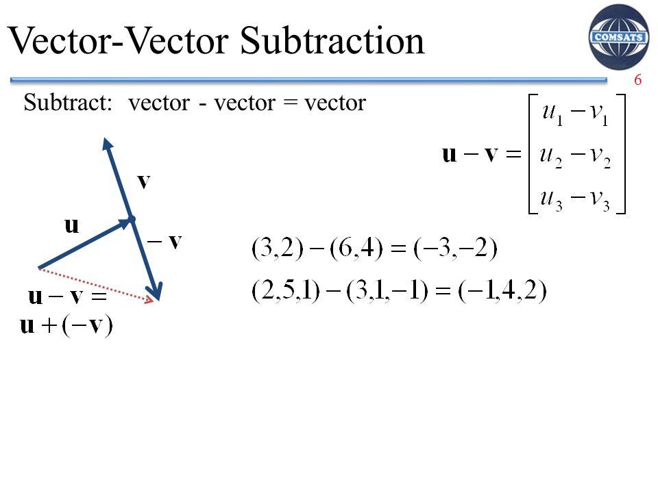 6 Vector-Vector Subtraction Subtract: vector - vector = vector