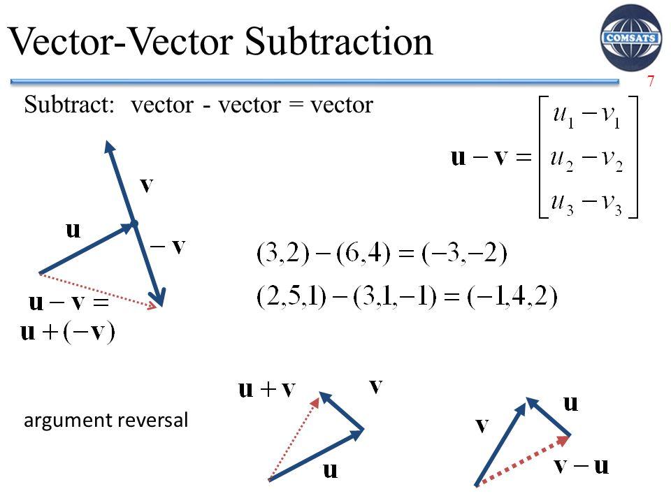 7 Vector-Vector Subtraction Subtract: vector - vector = vector argument reversal