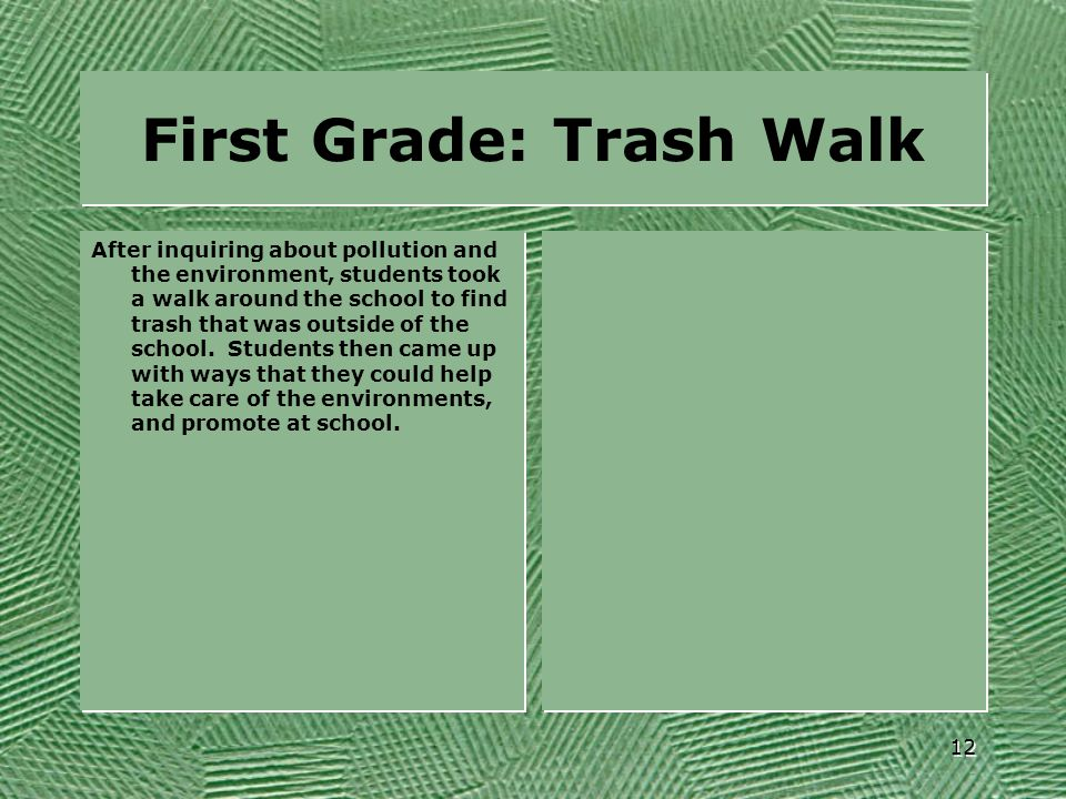 First Grade: Trash Walk After inquiring about pollution and the environment, students took a walk around the school to find trash that was outside of