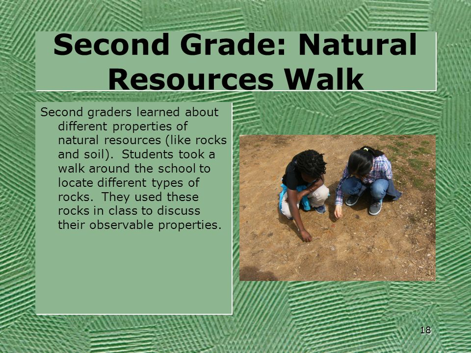 Second Grade: Natural Resources Walk Second graders learned about different properties of natural resources (like rocks and soil). Students took a wal