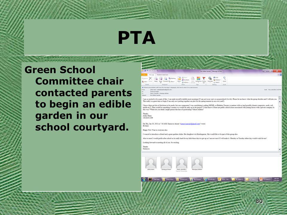 PTA Green School Committee chair contacted parents to begin an edible garden in our school courtyard. 80