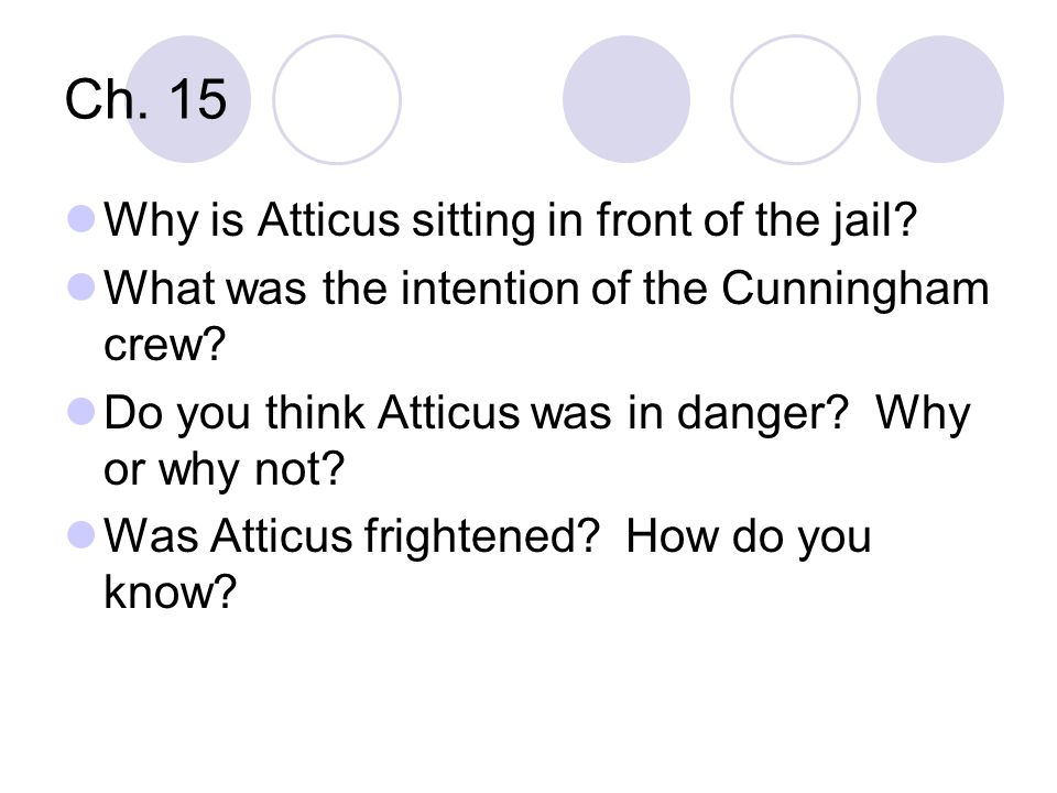 Ch. 15 Why is Atticus sitting in front of the jail? What was the intention of the Cunningham crew? Do you think Atticus was in danger? Why or why not?