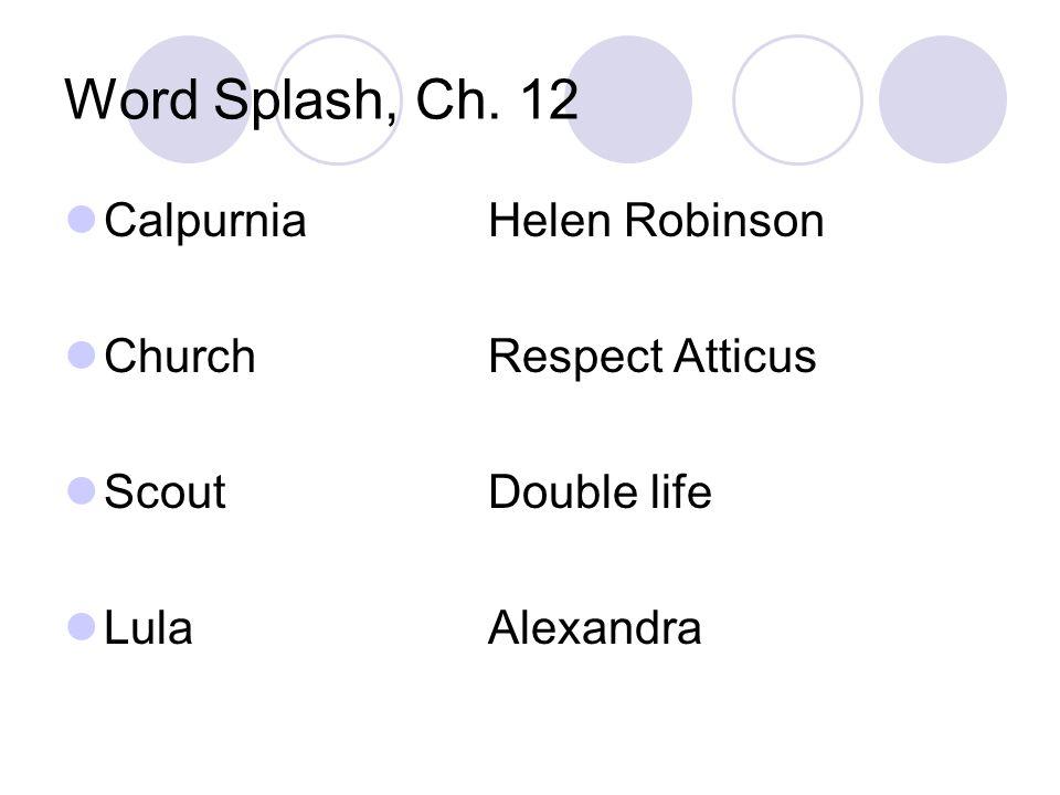 Word Splash, Ch. 12 CalpurniaHelen Robinson ChurchRespect Atticus ScoutDouble life LulaAlexandra