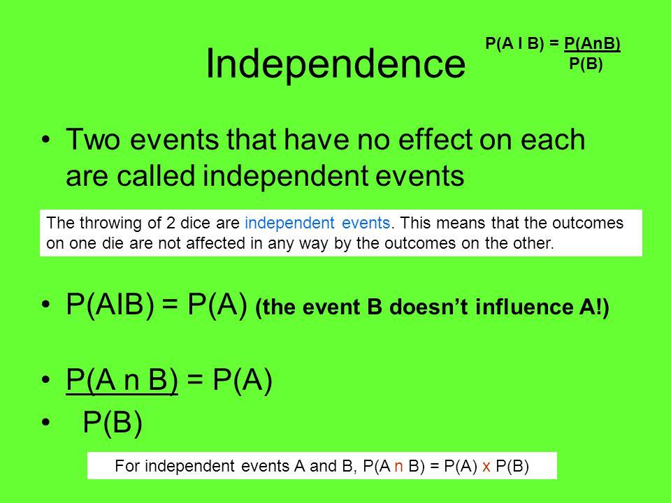 Example 2 Given P(A) = ½ P(AIB) = ¼ and P(AUB)= 2/3 find P(B). P(A I B) = P(AnB) P(B)